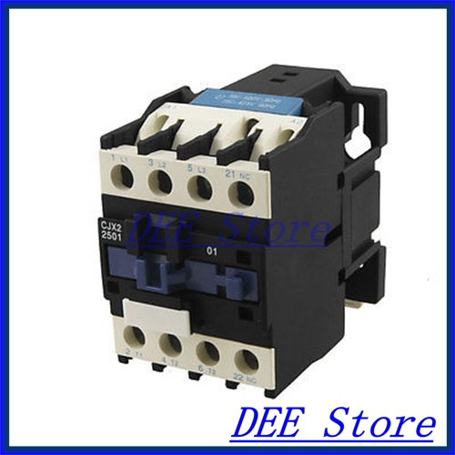 CJX2-2501 DIN Rail Mount AC Contactor 3 Pole One NC 380V Coil 25A 35mm din rail mounted 3p 1no 380v coil 25a ac contactor cjx2 2510