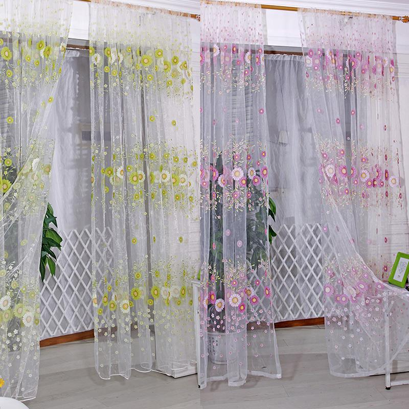 1M X 2M Curtain Sunflower Pattern Tulle Voile Curtains For Living Room Window Sheer Decor