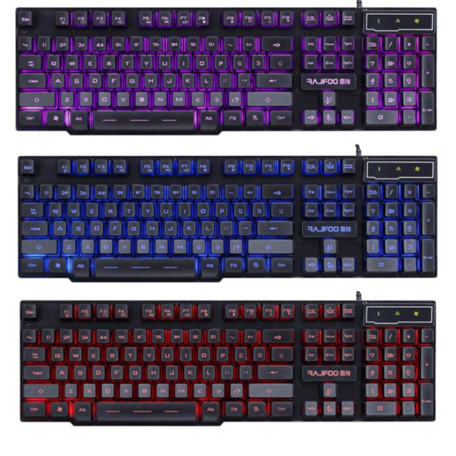 Portable USB Mini USB Wired 3 Colors LED Backlight Multimedia PC Gaming Keyboard For Windows 7/8/10 Laptop Notebook Black