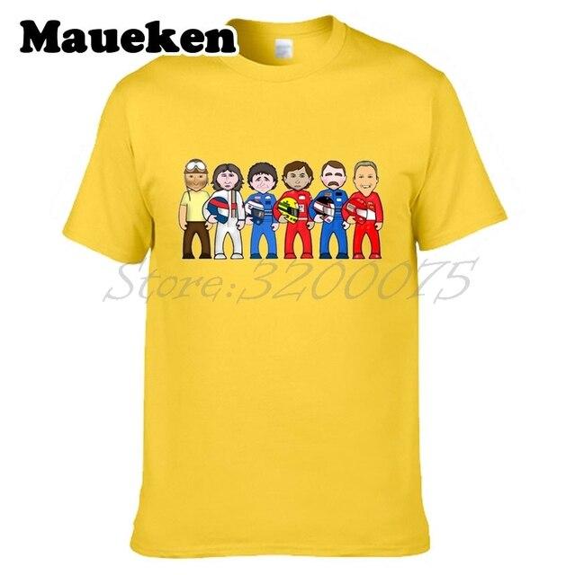1 lendas dos homens Juan Manuel Fangio Michael Schumacher Ayrton Senna Alain Prost Nigel Mansell T-shirt tee W0522037