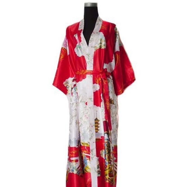 Бесплатная поставка Красный Китайских женщин Silk Район Одеяние Кимоно Ванна Платье Ночная Рубашка Размер Sml XL XXL XXXL W2S009