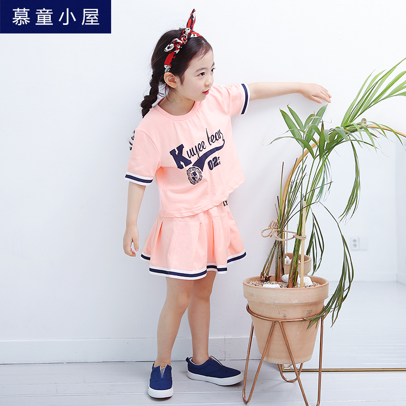 Brand summer cotton letters t-shirt and skirt Children sport clothing set for kids girl 2 3 4 5 6 7 8 9 10 years Girls clothes