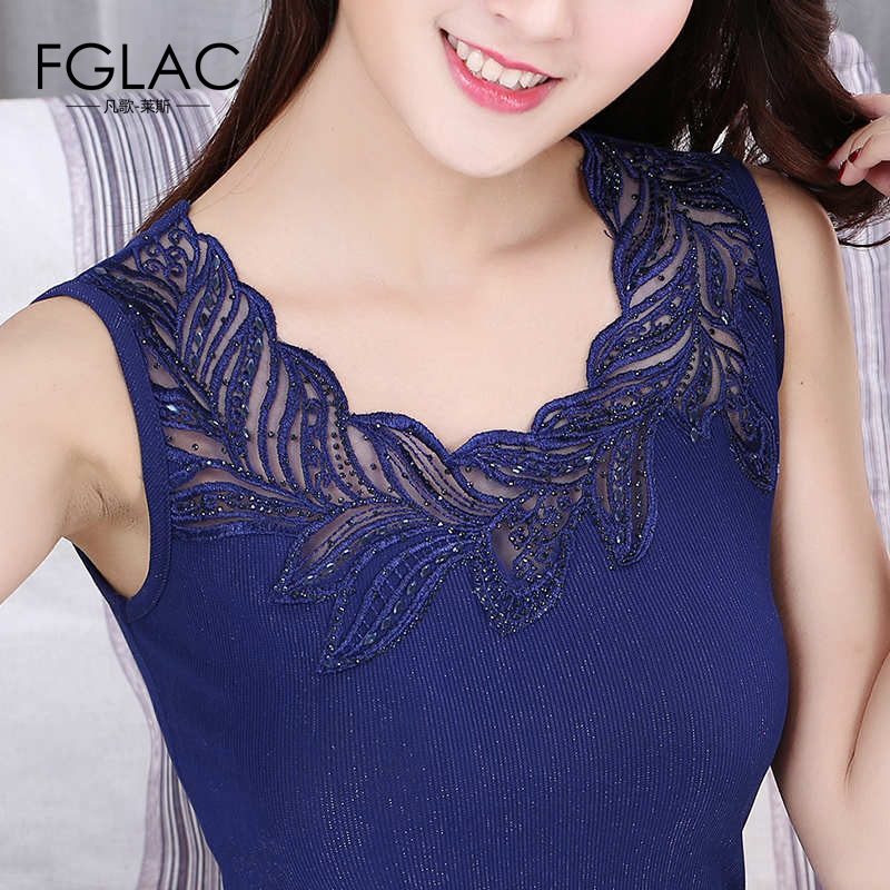 FGLAC Women   blouse     shirt   Fashion Elegant Slim sleeveless Summer tops Sexy Hollow out lace tops Plus size women clothing blusas
