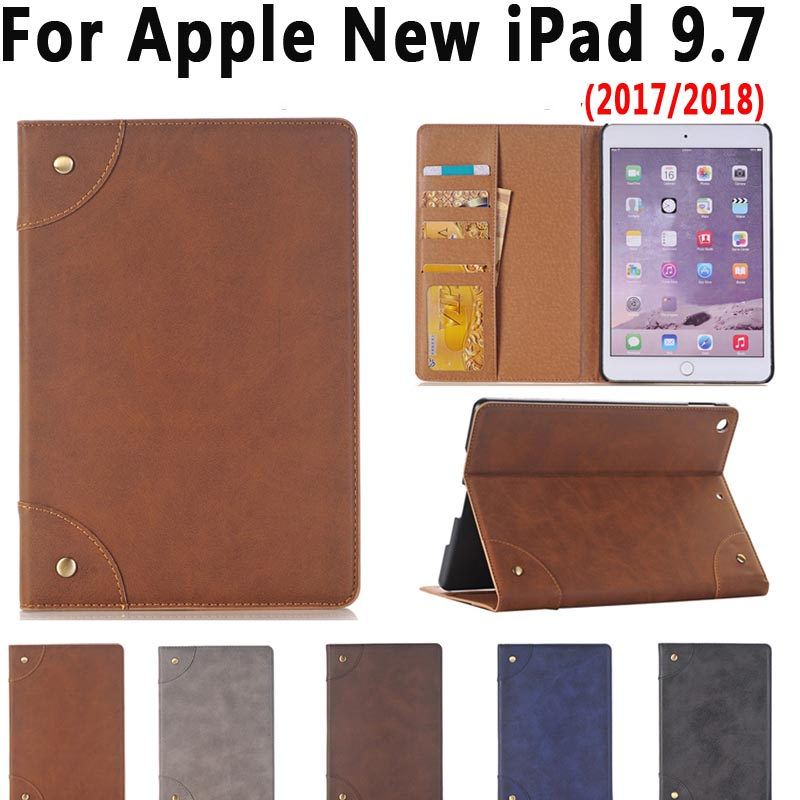 Leather Case for New Apple iPad 9.7 2018 2017 Cover Funda Capa Luxury Slim Smart Stand Flip Card Slot Tablet Case for iPad 2018 luxury brand leather case for ipad pro 10 5 inch 2017 business flip smart cover stand new with card slot