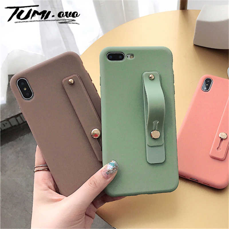 Simple Matte Candy Wrist Strap Hand Band silicone case for iPhone  6 6s 7 8 Plus X Xr Xs Max Back Phone Stand Ring Protect Cover