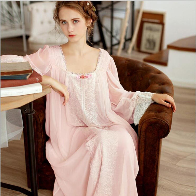 2018 New Retro Palace Sexy Princess Women Long Nightdress Sleepwear for Ladies White Nightgown