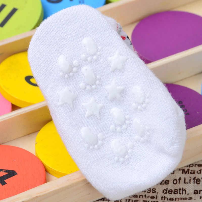 1 par de calcetines de algodón para niños con suela de goma antideslizante calcetines de bebé de dibujos animados Unisex recién nacido zapatos antideslizantes botas para bebé 0-12M