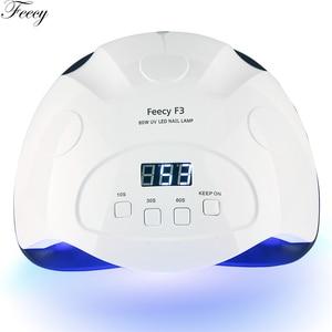 Image 3 - Feecy Lámpara LED UV para manicura, 80W, para barniz de Gel, 42 LED