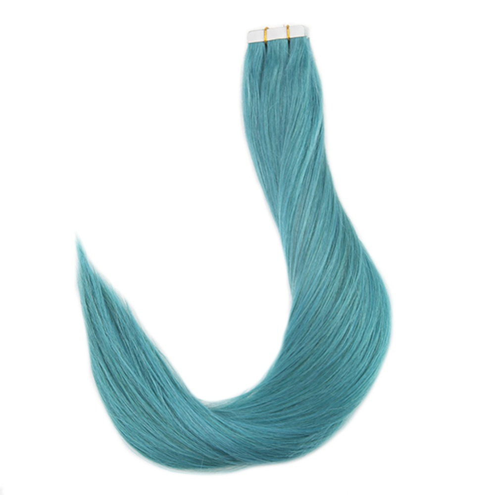 Full Shine Tape In Extensions 100% Real Remy Human Hair Solid Color #Teal  Gule On Hair Seamless Extension 20 Pieces 50 Gram