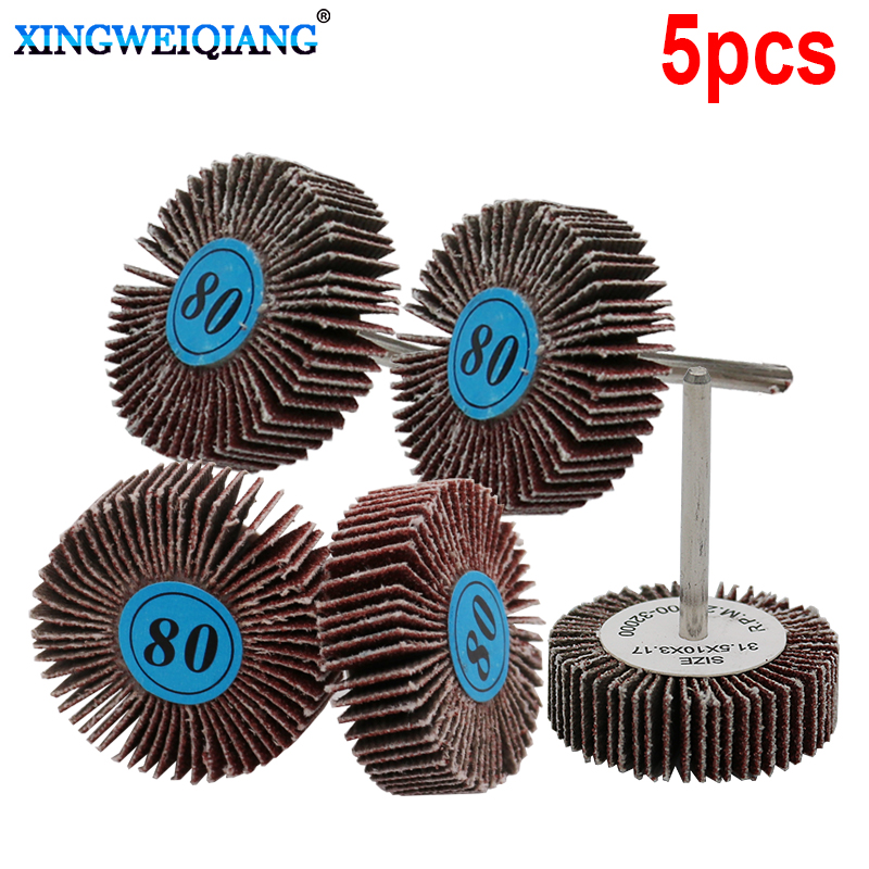 5pcs Grit Grinding Sanding Sandpaper Flap Wheel Discs For Rotary Tool Shutter Polishing Wheel For Dremel Tools