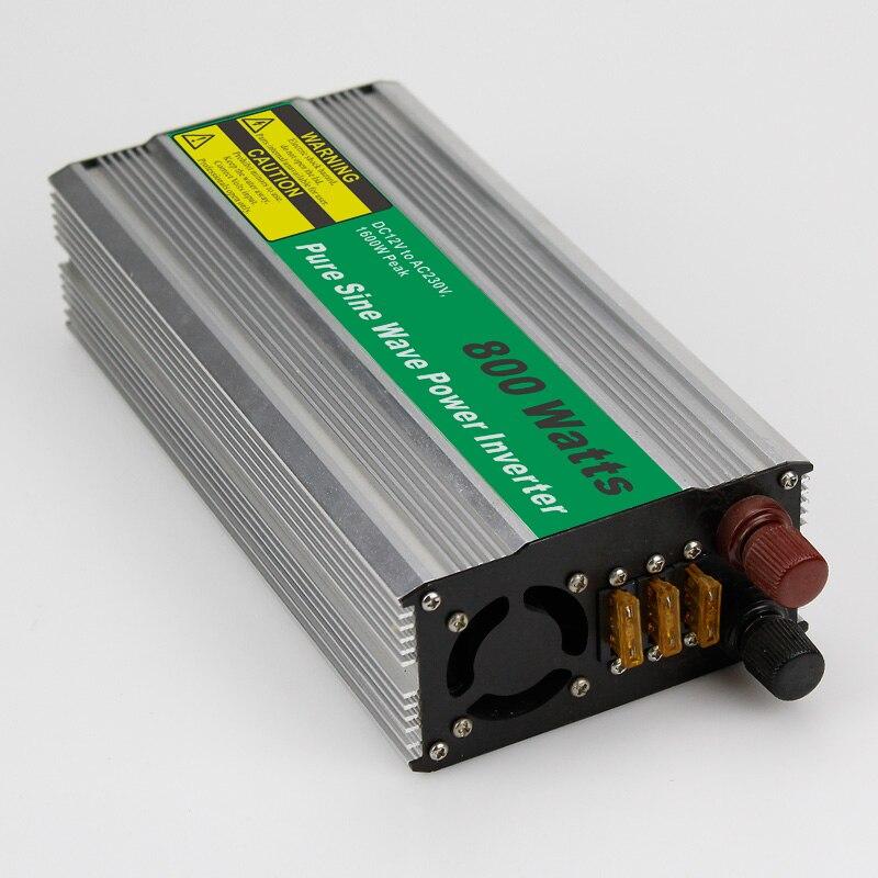 1pc 800W Car Power Inverter Converter DC 12V to AC 110V or 220V Pure Sine Wave Peak 1600W Power Solar inverters