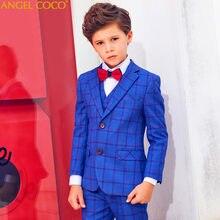 9cbbef1a1 Azul a cuadros chicos trajes para bodas niños chaqueta para niño traje  Enfant Garcon Mariage Jogging
