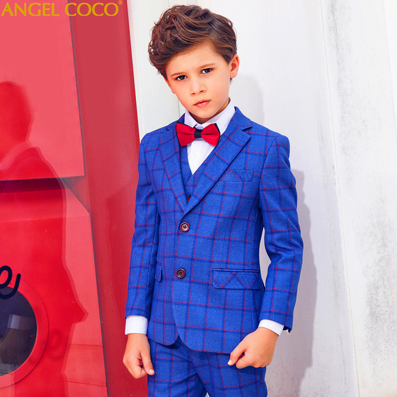 Niebieski Plaid chłopcy garnitury na wesela dzieci Blazer garnitur dla chłopca kostium Enfant Garcon Mariage Jogging Garcon Blazer chłopcy Tuxedo w Garnitury od Matka i dzieci na AliExpress - 11.11_Double 11Singles' Day 1