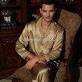 Male Silk Sleepwear Quality Autumn 2 Piece Pajama Sets Long-sleeve Men 5A 100% Mulberry Silk Twinset  L/XL/XXL Free Shipping