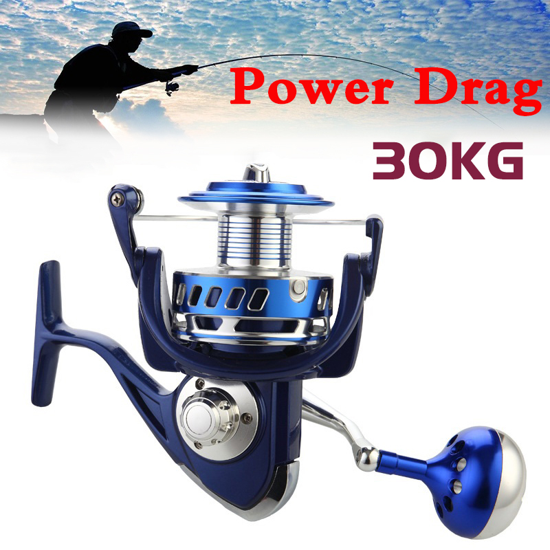 30KG Power Drag All Metal Spinning Reels 6000 7000 8000 9000 10000 Heavy Duty Sea Fishing