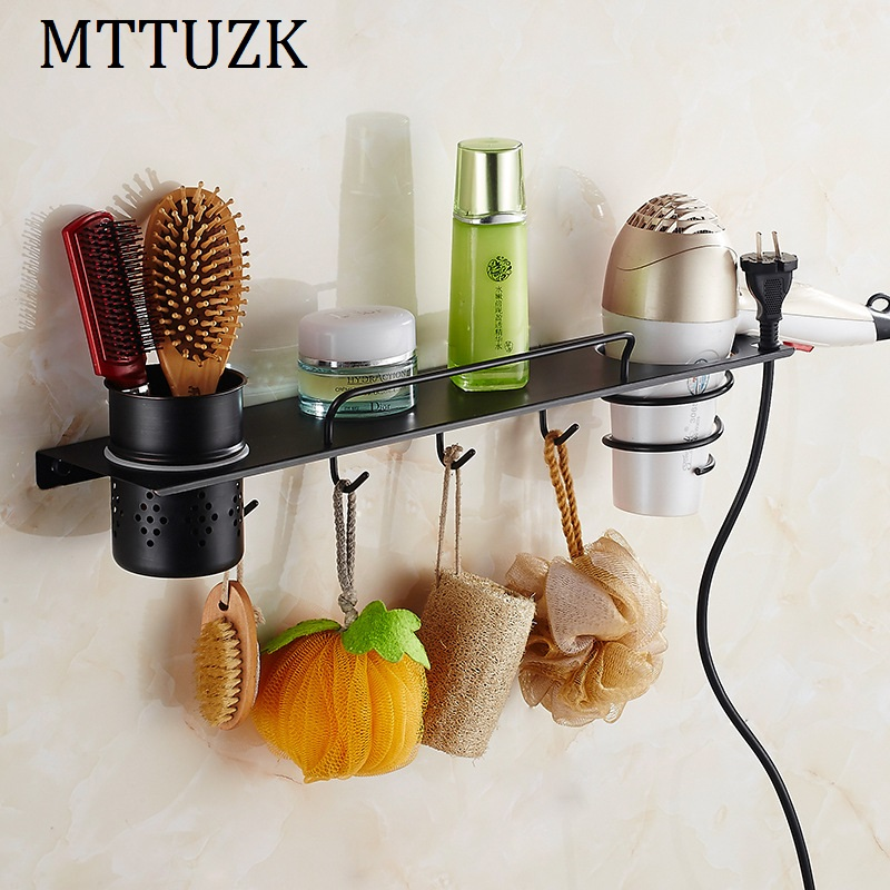 MTTUZK DIY black 304 Stainless Steel bathroom shelves Multi-function hair dryer rack bathroom makeup stand bathroom accessorie laboratory rack multi function physical test support stand base 100x100cm stainless steel