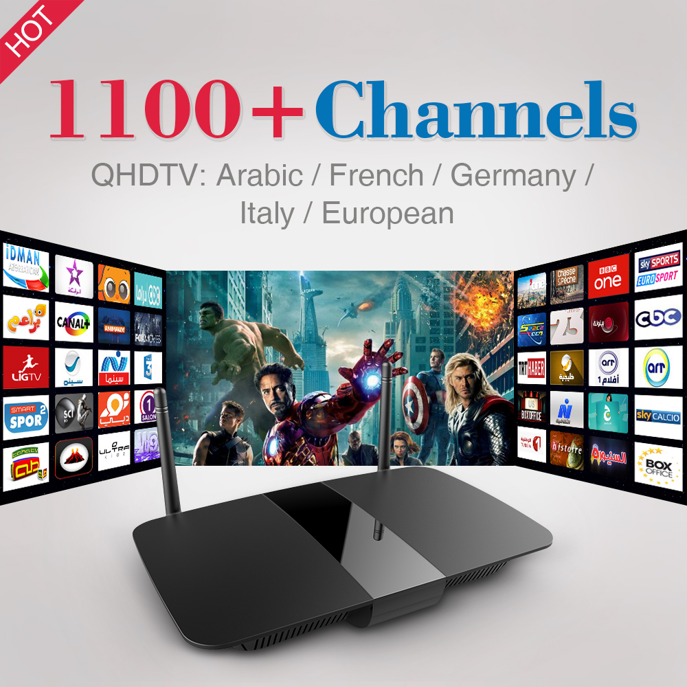 Arabic Europe Android TV Box Quad Core Smart TV Box 2.4GHz WIFI IPTV Media Player with 1Year Free QDHTV IPTV 1100 Channels
