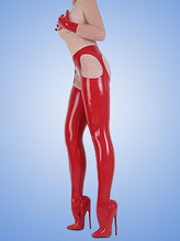 Fetish rubber latex leggings erotic clubwear pants suspender stockings without the gloves