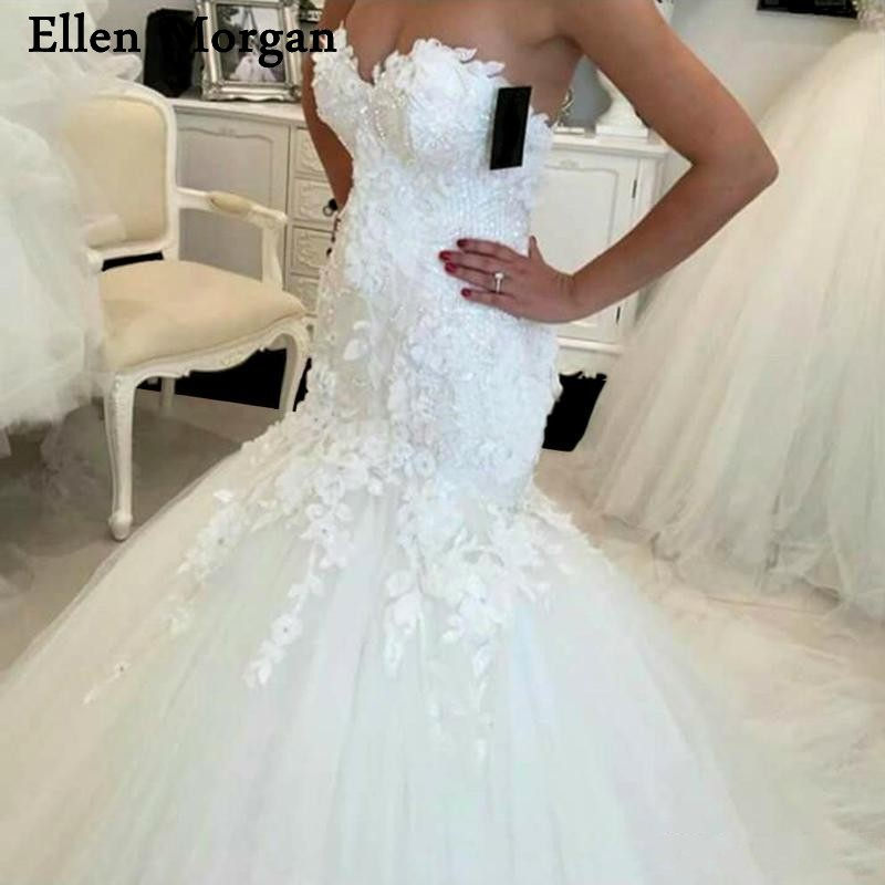 Sexy Mermaid Wedding Dresses for Women 2019 Real Photos Vestido De Noiva  Sweetheart Summer Beach Garden Lace Ivory Bridal Gowns-in Wedding Dresses  from ... 6c774ce4555b