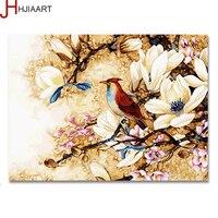 HJIAART Moderne Foto Van Bloemen En Vogels Ingelijst Schilderij Op De Muur Hand Verf Door Nummer Canvas Diy 40x50 cm G447