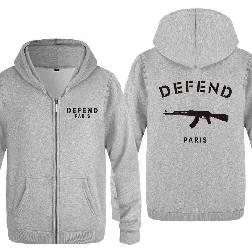 man zipper hoodies Defend Paris printed hooded spring Autumn