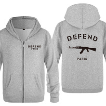 us veteran man zipper hoodies Defend Paris printed hooded spring Autumn thin Adult