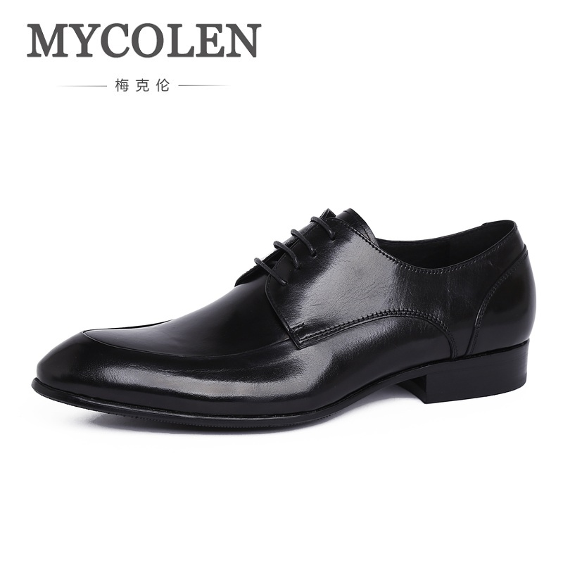 MYCOLEN Italian Style Genuine Leather Men Shoes Business Dress Breathable Casual Men Fashion Pointed Toe Shoe Erkek Ayakkabi top italian style real full grain leather qshoes shoe mens business men man dress casual fashion pointed toe shoes yo8538 128