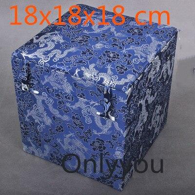 Boîte de rangement en tissu Cube carré en bois chinois de luxe boîte de rangement en soie bijoux en brocart artisanat en pierre boîte d'emballage cadeau Collection - 5