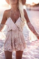 Sexy Gold Halter Elegant Sequins Playsuit Summer Romper Backless Bodycon Strapless Mesh Short Jumpsuit For Women