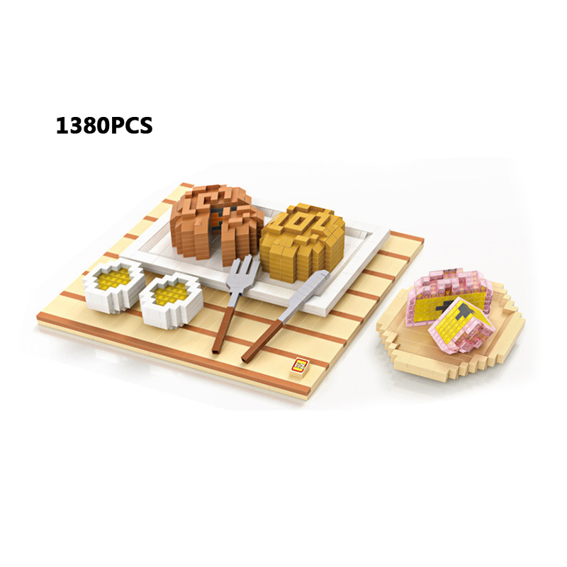 Hot Delicious food micro diamond building block Chinese Mid-Autumn moon cake meal Knife and fork nanoblock brick toys collection все цены
