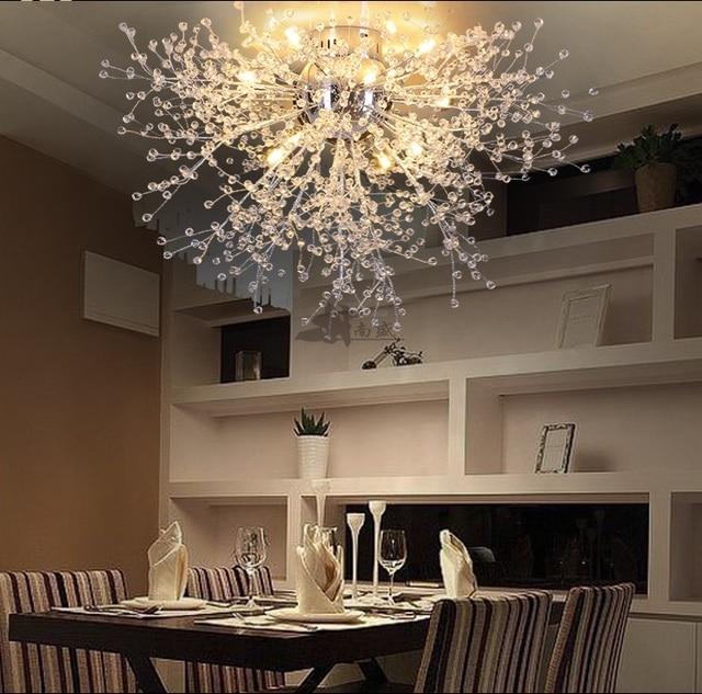 US $106.28 25% OFF|Modern Dandelion LED Flush Mount Ceiling Light Clear  Crystal Lamp for Kitchen Bedroom Living Room Foyer Elegant Lighting  Fixture-in ...