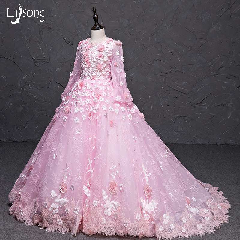 Pink Lace Floral Princess Puffy Flower Girl Dress Custom Made Little Girl Formal Maxi Gowns for Wedding Communion Celebrity