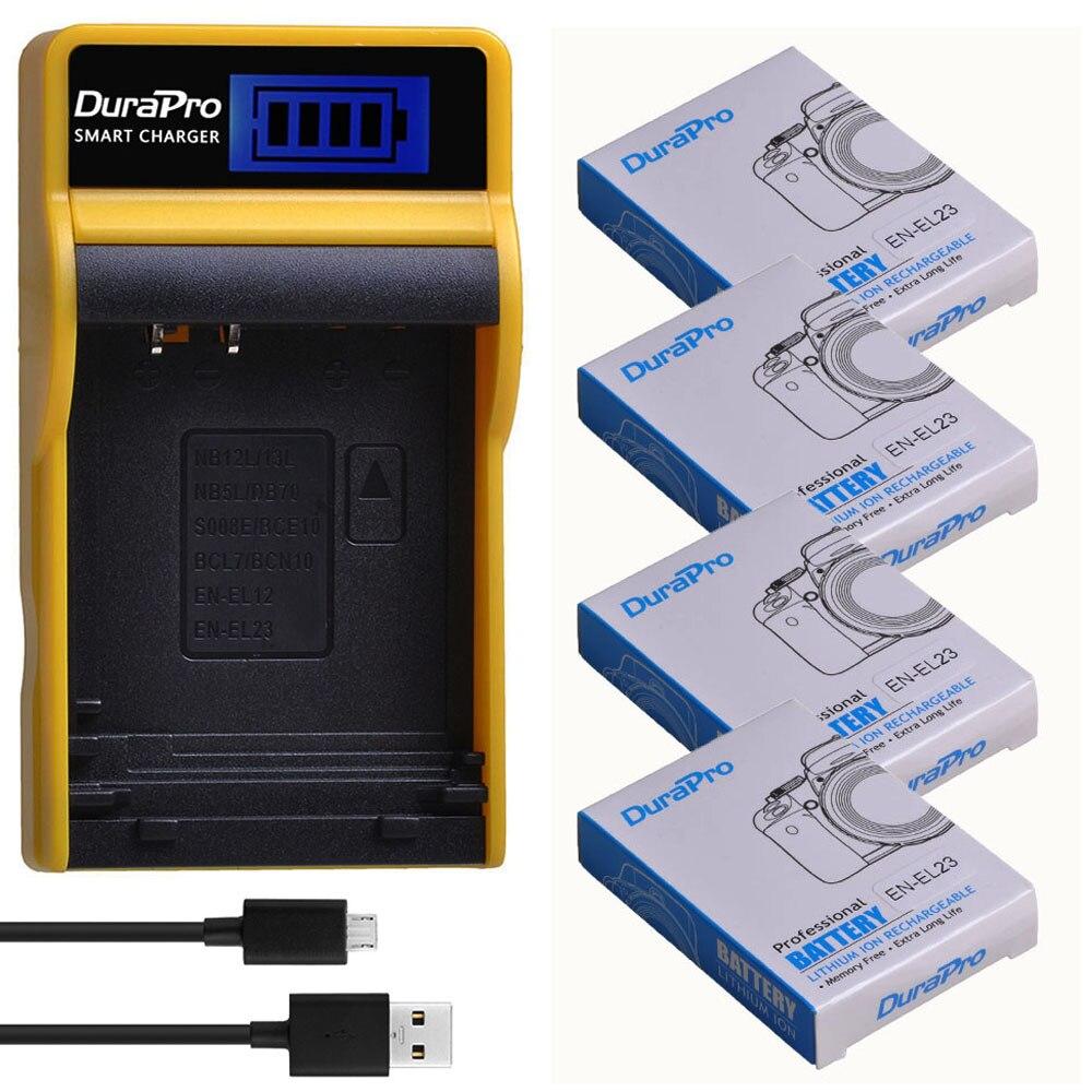 DuraPro 1850mAh EN-EL23 es EL23 Cámara Li-Ion batería + LCD USB cargador para Nikon COOLPIX P900... P610... p600... B700... S810c Cámara