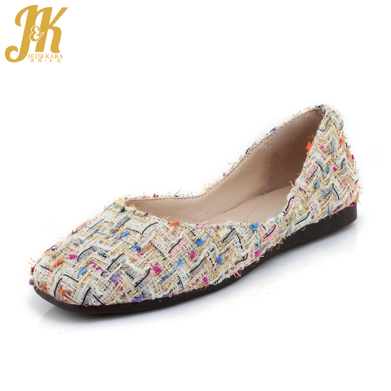 JK Cloth Women Flats Spring Fashion Shallow Handmade Casual Boat Shoes Square Toe Slip On Mixed Colors Footwear Big Size 32-44 vintage embroidery women flats chinese floral canvas embroidered shoes national old beijing cloth single dance soft flats