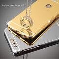 Caso para huawei honor 8 alumínio + chapeamento de acessórios espelho tampa traseira caso de proteção para huawei honor 8 híbrido de luxo completo