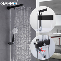 GAPPO Shower Faucets brass water tap chrome and black bath faucet mixer shower set with basin faucet bathroom shower system