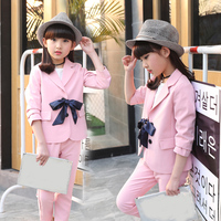Girls Blazer Pants 2 Pieces Suits Sets Teenage Girls Clothing Back to School Dress Clothes Fall 2018 Bow PINK Kids Trench Coats