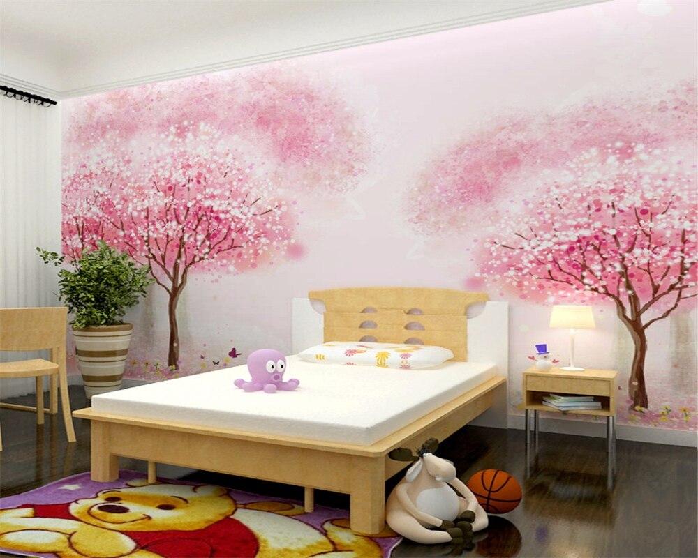 Купить с кэшбэком beibehang Custom wallpaper children's room girl room pink tree wallpaper bedroom bedside mural cartoon tree 3d wallpaper mural