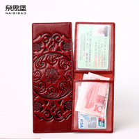 NAISIBAO Women Card Holder Chinese Style Purse Luxury Designer Wallets Genuine Leather Clutch Ladies Vintage Driver