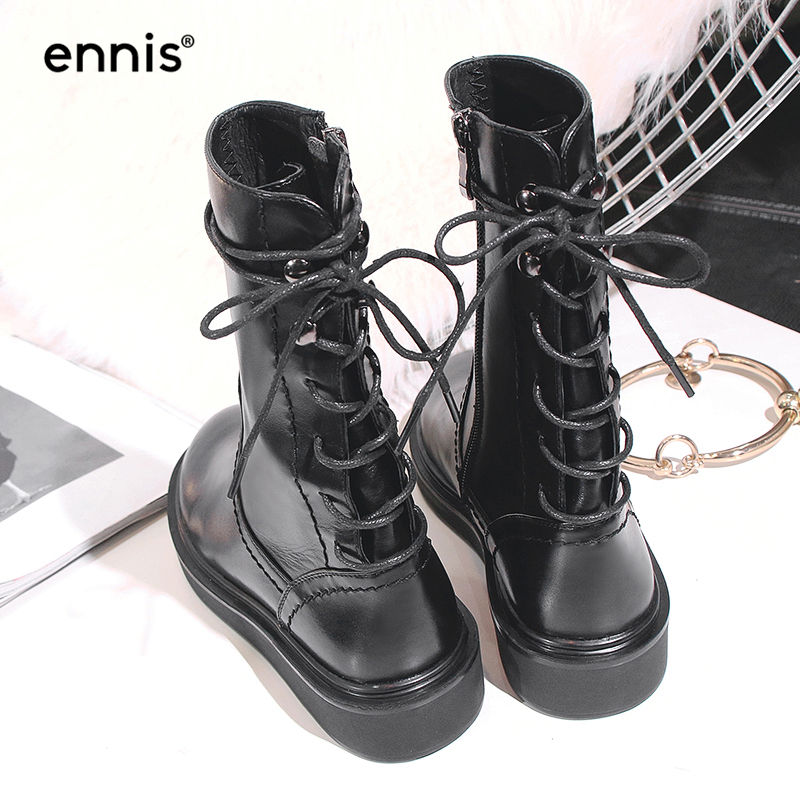 7b1657d24835 Detail Feedback Questions about ENNIS 2018 British Motorcycle Boots Women  Shoes Genuine Leather Platform Boots Flat Back Lace Up Boots Black Autumn  Winter ...