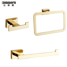 Роскошный золотой цвет нержавеющая сталь аксессуары для ванной комнаты Набор 3 шт. полотенце кольцо держатель бумаги двойной крючок