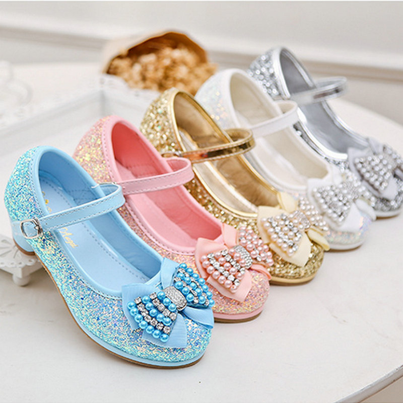 Fashion Butterfly Glittering leather princess shoes girls shoes toddler high heel kids girls party shoes crystal shoes for girls