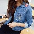 2016 Ladies Denim Jackets Outwear Jeans Coat Classical Jackets Women Applique Badge Hole Fashion Jeans Coats Rivets Female