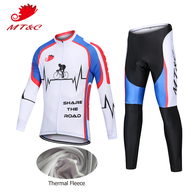 f2119245b MT C Man Winter Cycling Jersey Set Heart Beat Pattern Breathable Fleece Pro Cycling  Team Clothing Quick