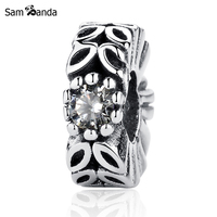 Sam Panda Authentic 925 Sterling Silver Bead Charm Leaves Crystal Flower Beads Fit Women DIY Bracelets Bangles Jewelry YW20492