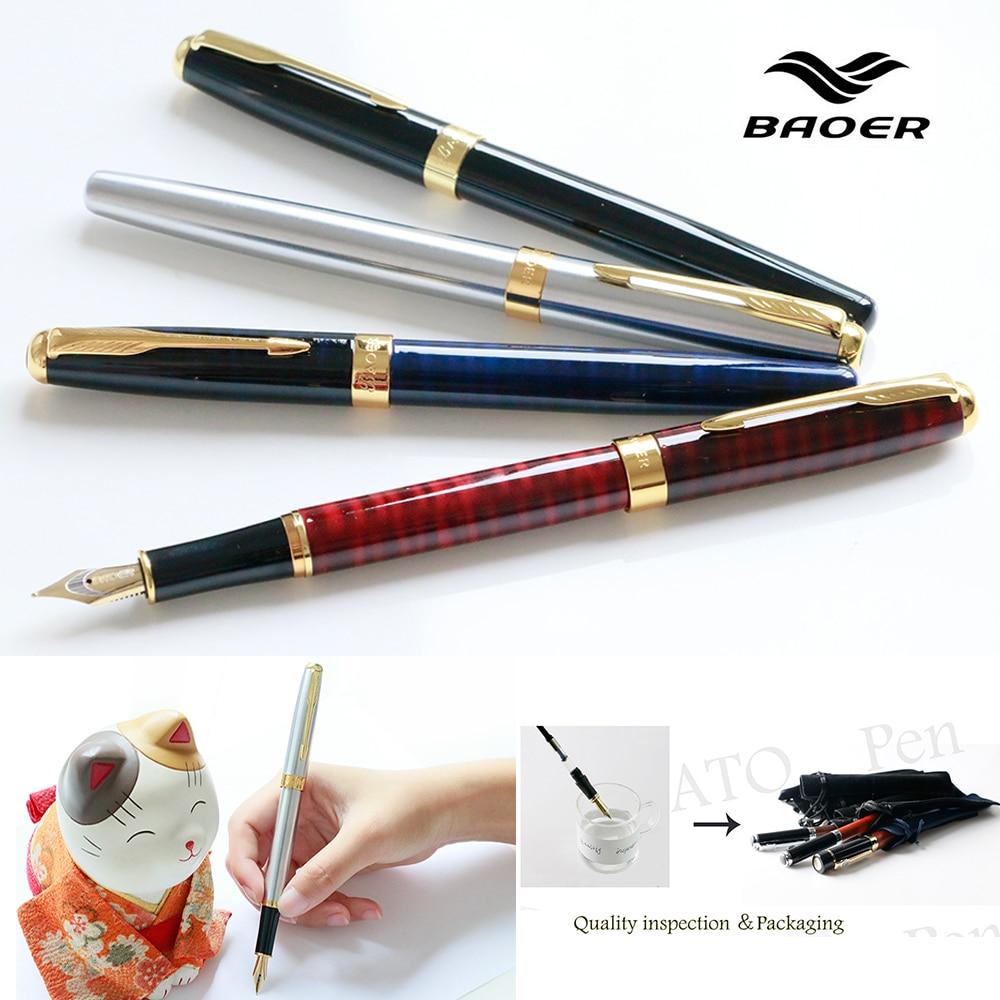 Baoer 388 Metal Fountain Pen Luxury 0.5MM Nib with Golden Clip Ink Pens for Writing School Office Supplies Stationery baoer 3035 stainless medium nib 0 5mm fountain pens