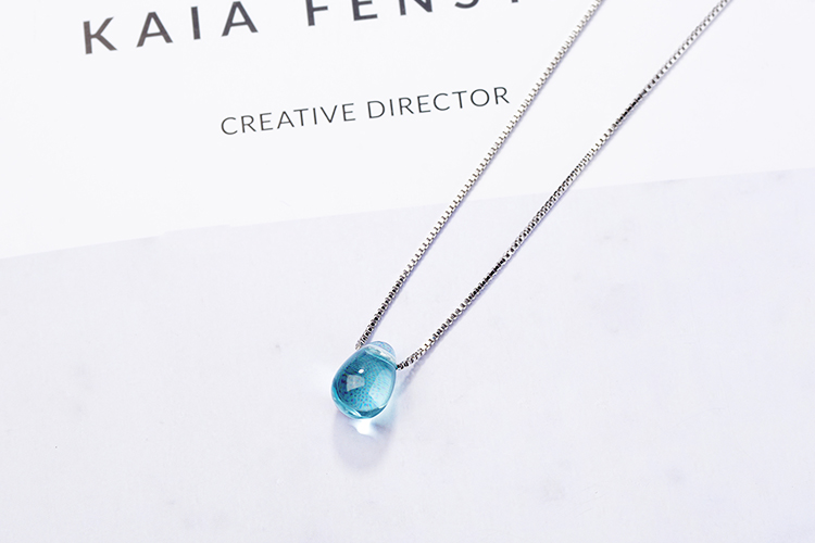 Anenjery Literary Artificial Blue Crystal Water Drop Necklace 925 Sterling Silver Clavicle Chain Necklace For Women Girl S-N292 8