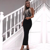 Newest Summer Celebrity Party Women Dress Sleeveless Off The Shoulder Beading Sexy Night Out Club Backless Dress Women Vestidos