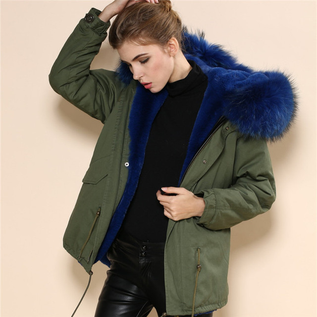 Winter Military Green Womens Dark Blue Faux Fur Lined Short Jacket ...