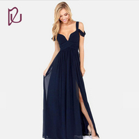 Free Shipping Navy Blue V Neck Split Leg Chiffon Cheap Prom Dresses 2017